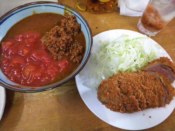 「キーマ風カレーSビーフカツ+ランクアップ+辛牛キーマ風移行」@MENYA 食い味の道有楽の写真