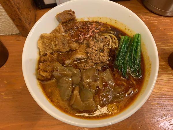 「黒坦々麺+パイコー+ザーサイ」@担々麺 ほおずきの写真