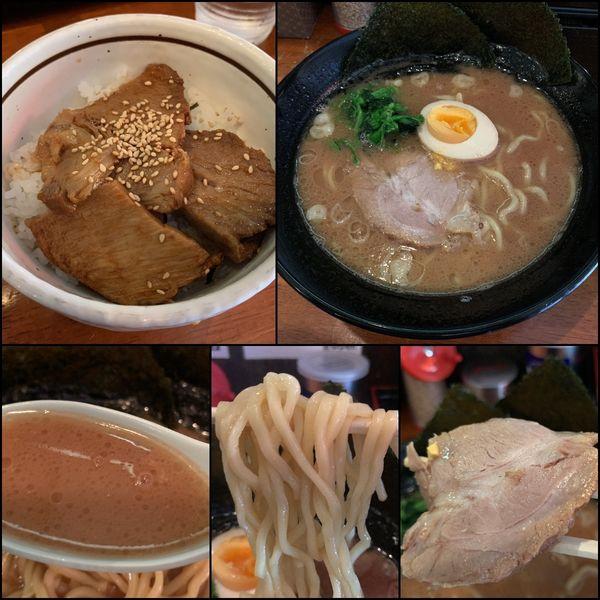 「醤油とんこつラーメン¥750+チャーシュー丼¥0(クーポン)」@麺侍 誠の写真