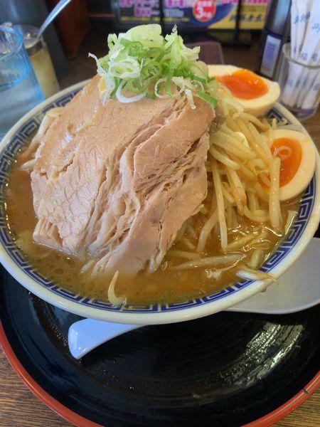 「伏竜らーめん(味噌)野菜チャーシューマシ(小)+味玉」@伏竜 北本店の写真