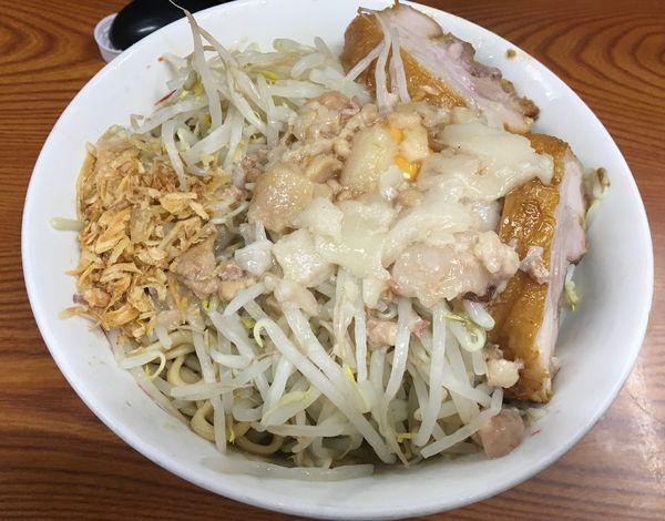 「汁なし ニンニク アブラ カラメ タマネギ」@ラーメン二郎 亀戸店の写真