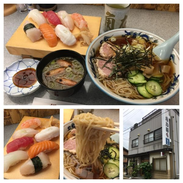「丼冷やしラーメン 702円、生寿司 1080円」@角力軒の写真
