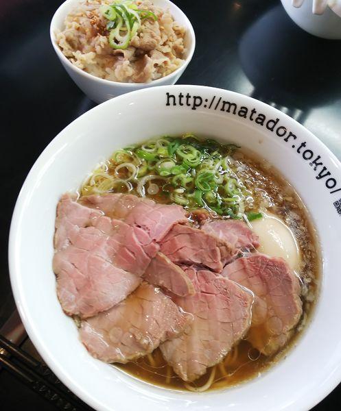 「贅沢焼牛らぁ麺+塩カルビ丼」@牛骨らぁ麺 マタドール 本店の写真