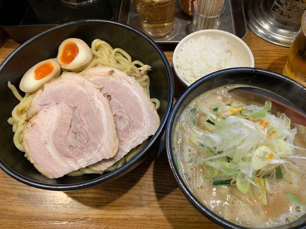 「味玉辛味噌チャーシューつけ麺+無料小ライス 1270円」@麺処 花田 上野店の写真