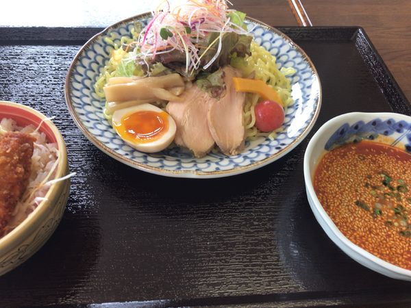 「限定:サラダ豆乳担々つけ麺を中華麺で820円(+たれっカツ小」@食楽壱 zen 岳空の写真