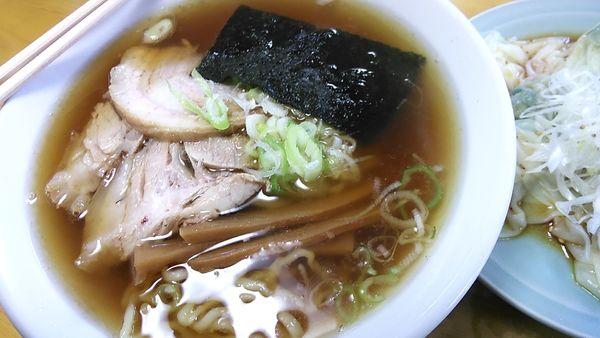 「ラーメン、ネギ水餃子」@生江食堂の写真