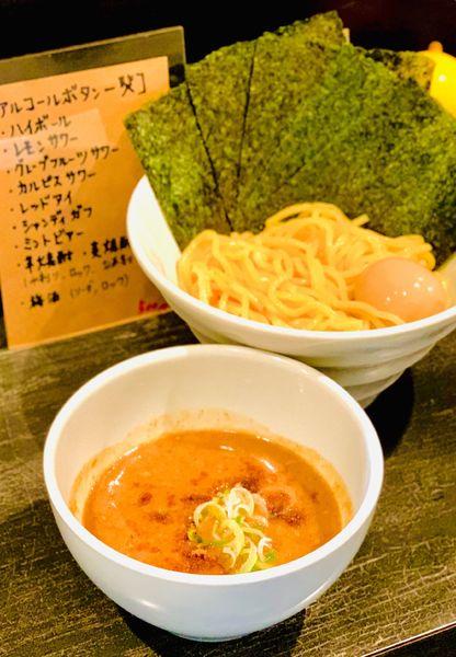 「味玉濃厚ニボつけ麺」@煮干しそば 虎愼 八幡山店の写真
