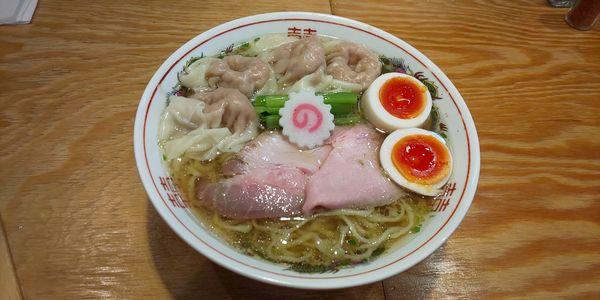 「山椒そば+肉ワンタン4個+味玉」@キング製麺の写真