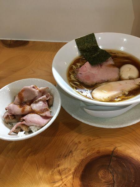 「鶏そば味玉トッピングとロースポーク飯」@麺屋BISQの写真