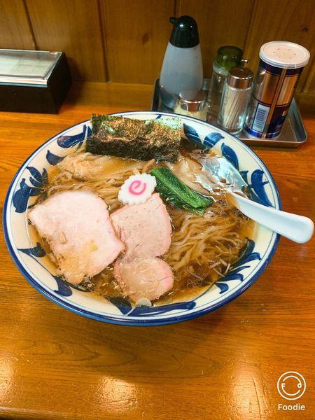 「ワンタン麺大盛り」@手打ち中華そば 竹の助の写真