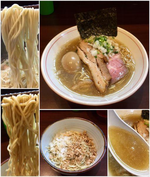 「煮干し蕎麦(塩)+味玉+和え玉」@零一弐三の写真